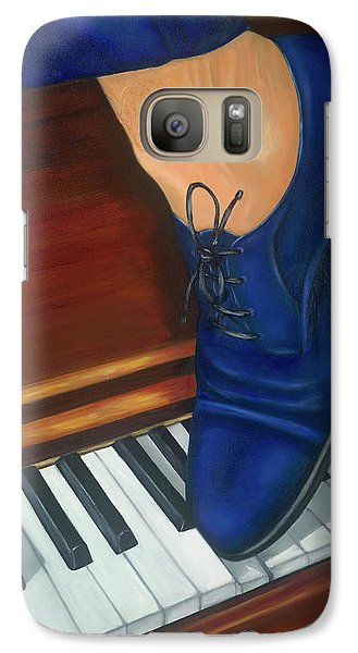 Galaxy Case featuring the painting Blue Suede Shoes by Marlyn Boyd
