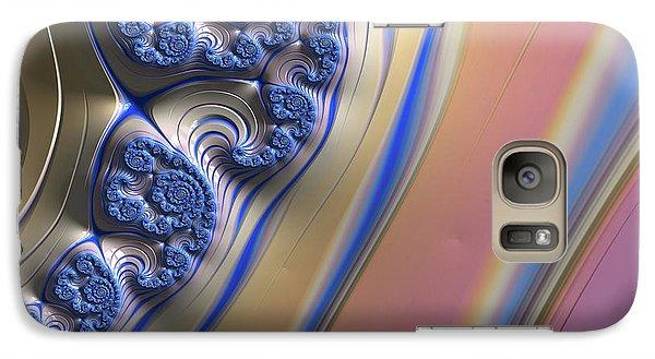 Galaxy Case featuring the digital art Blue Swirly Fractal 2 by Bonnie Bruno