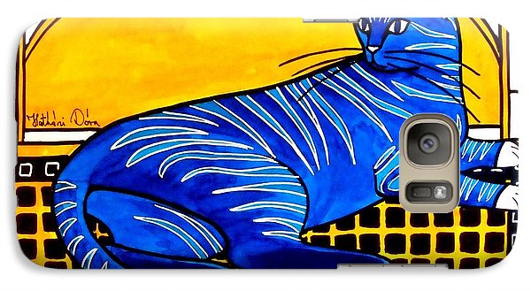 Galaxy Case featuring the painting Blue Tabby - Cat Art By Dora Hathazi Mendes by Dora Hathazi Mendes