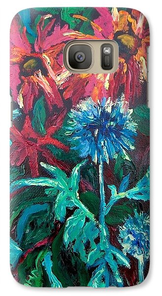 Galaxy Case featuring the painting Blue Thistle And Bee Balm by Susan  Spohn