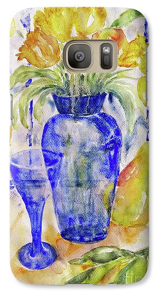 Galaxy Case featuring the painting Blue Vase by Jasna Dragun