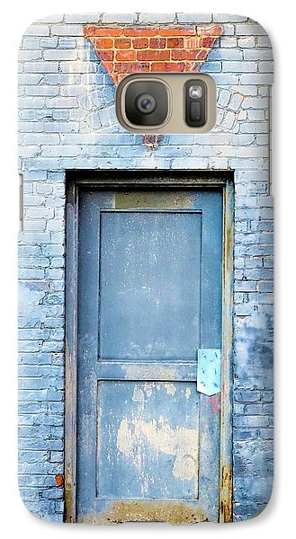 Galaxy Case featuring the photograph Blue Wall Blue Door by Denise Beverly