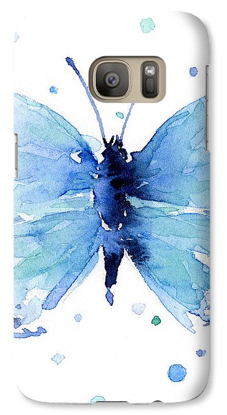 Blue Watercolor Butterfly Galaxy Case by Olga Shvartsur