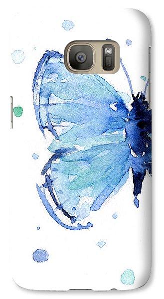 Blue Watercolor Butterfly Galaxy S7 Case
