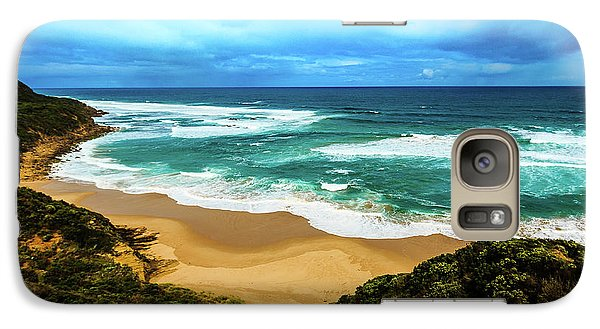 Galaxy Case featuring the photograph Blue Wave Beach by Perry Webster