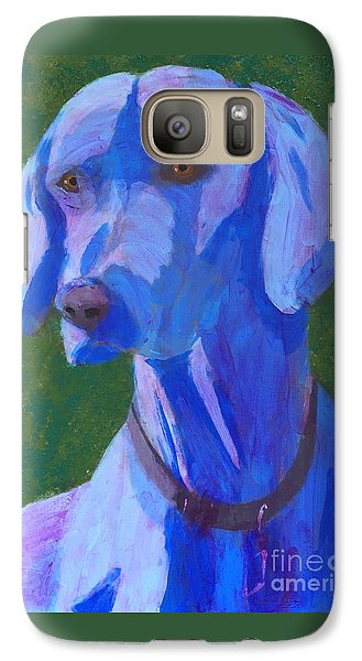 Galaxy Case featuring the painting Blue Weimaraner by Donald J Ryker III