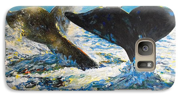 Galaxy Case featuring the painting Blue Whales by Koro Arandia