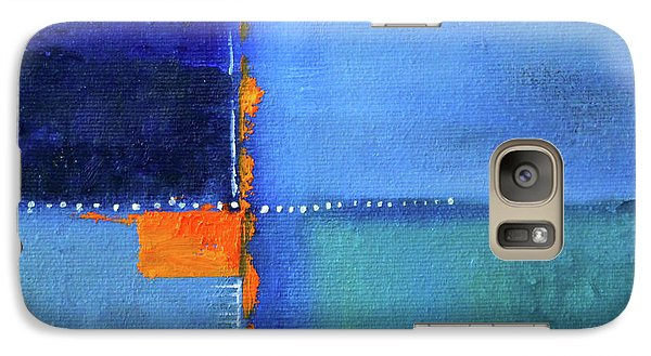 Galaxy S7 Case featuring the painting Blue Window Abstract by Nancy Merkle