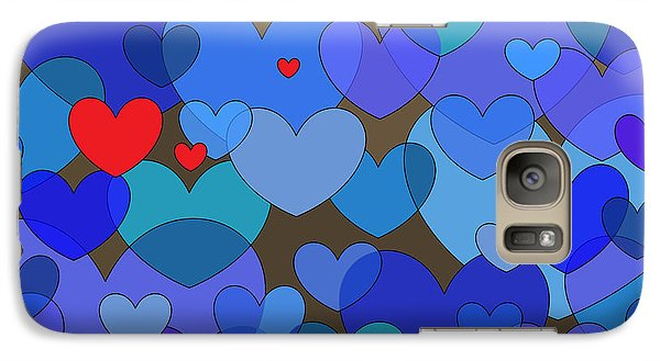 Galaxy Case featuring the digital art Blue Hearts by Val Arie