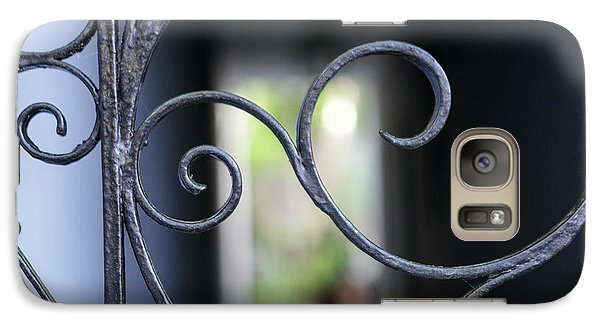 Galaxy Case featuring the photograph Blue Wrought Iron Scroll by Heather Green