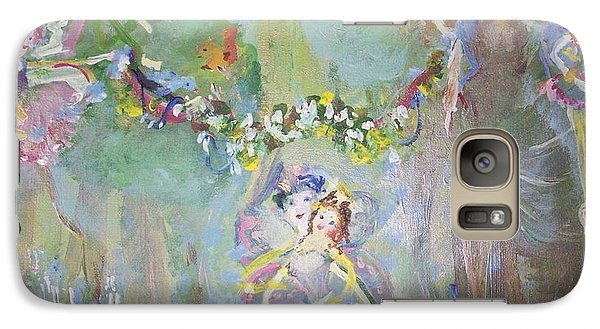 Galaxy Case featuring the painting Bluebell Fairies by Judith Desrosiers