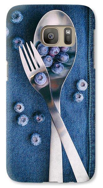 Blueberries On Denim II Galaxy Case by Tom Mc Nemar