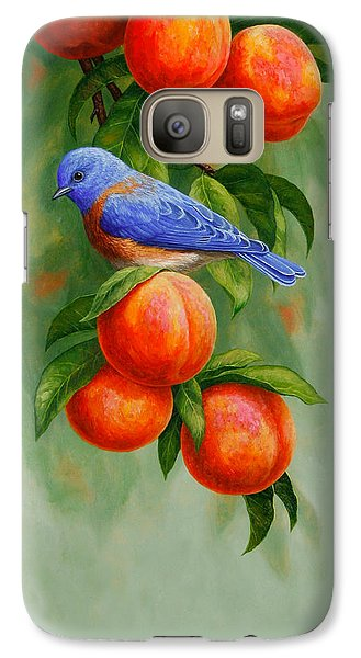Bluebird And Peaches Iphone Case Galaxy Case by Crista Forest