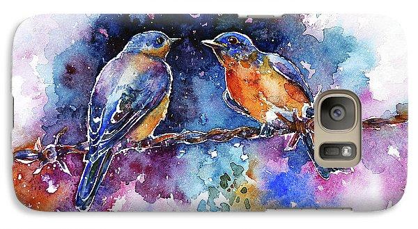 Galaxy Case featuring the painting Bluebirds by Zaira Dzhaubaeva