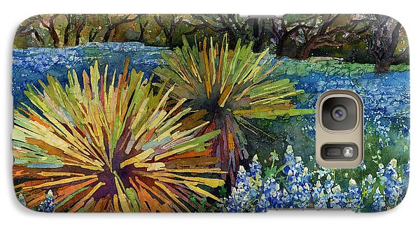 Galaxy Case featuring the painting Bluebonnets And Yucca by Hailey E Herrera