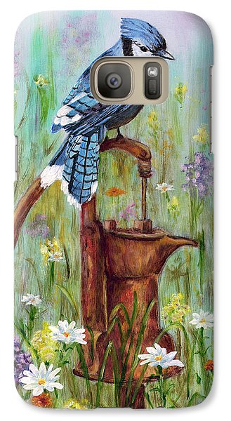 Galaxy Case featuring the painting Bluejay Peaceful Perch by Judy Filarecki