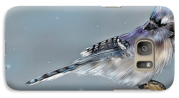 Galaxy Case featuring the digital art Winter Bluejay by Darren Cannell