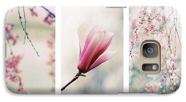 Galaxy S7 Case featuring the photograph Blush Blossom Triptych by Jessica Jenney