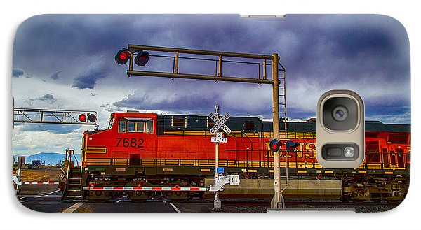 Galaxy Case featuring the digital art Bnsf 7682 Crossing by Bartz Johnson