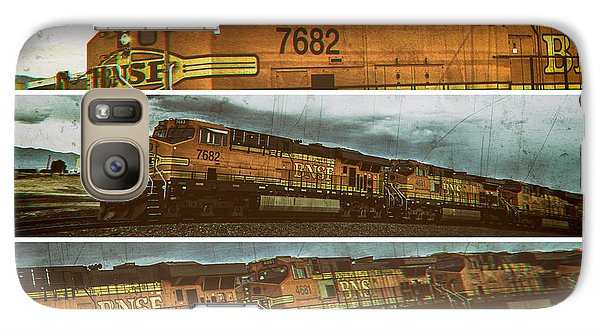 Galaxy Case featuring the digital art Bnsf 7682 Triptych  by Bartz Johnson