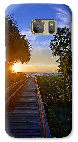 Galaxy Case featuring the photograph Sunset At The End Of The Boardwalk by Robb Stan