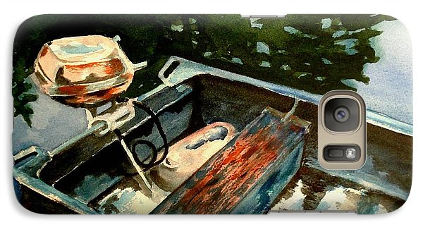 Galaxy Case featuring the painting Boat In Fog 2 by Marilyn Jacobson