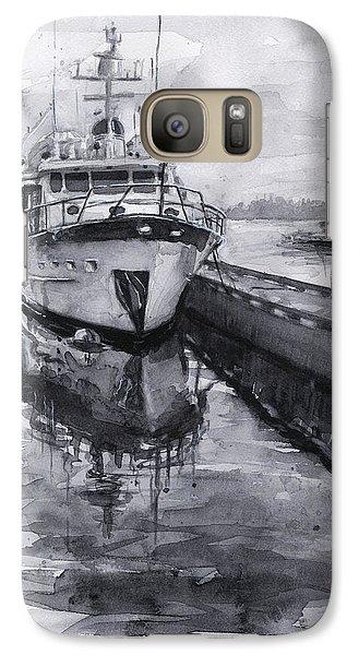 Seattle Galaxy S7 Case - Boat On Waterfront Marina Kirkland Washington by Olga Shvartsur