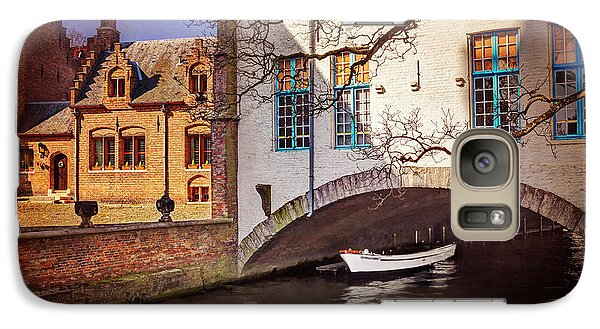 Galaxy Case featuring the photograph Boat Under A Little Bridge In Bruges  by Carol Japp