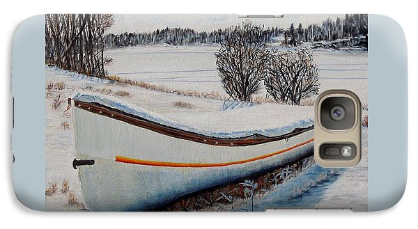 Galaxy Case featuring the painting Boat Under Snow by Marilyn  McNish
