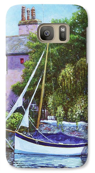 Galaxy Case featuring the painting Boat With Pink House On River by Martin Davey