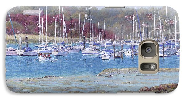 Galaxy Case featuring the painting Boats At Hamble Marina by Martin Davey