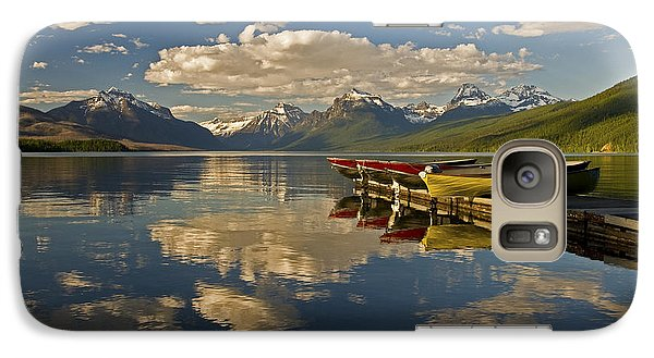 Galaxy Case featuring the photograph Boats At Lake Mcdonald by Gary Lengyel