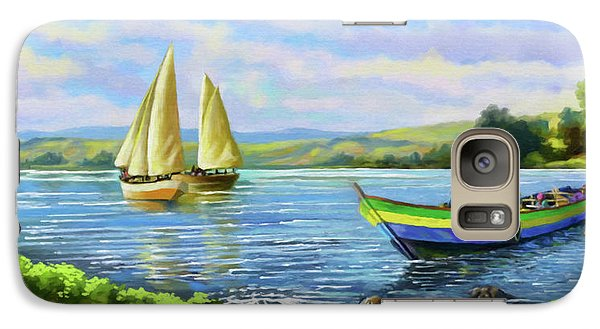 Galaxy Case featuring the painting Boats At Lake Victoria by Anthony Mwangi