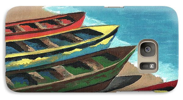 Galaxy Case featuring the painting Boats In A Row by Kathleen Sartoris