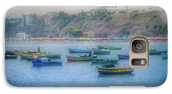 Galaxy Case featuring the photograph Boats In Blue Twilight - Lima, Peru by Mary Machare