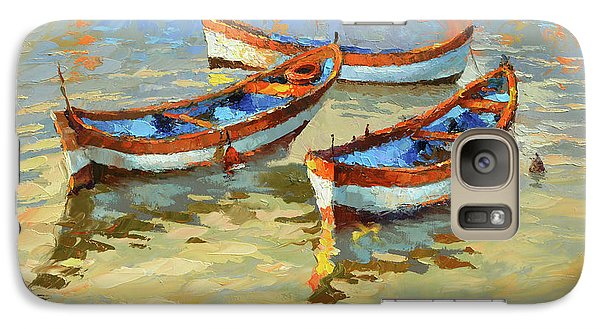 Galaxy Case featuring the painting Boats In The Sunset by Dmitry Spiros