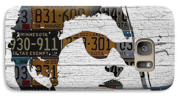 Bob Dylan Minnesota Native Recycled Vintage License Plate Portrait On White Wood Galaxy S7 Case by Design Turnpike