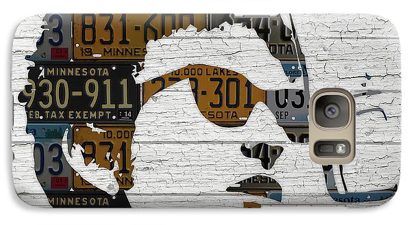 Bob Dylan Minnesota Native Recycled Vintage License Plate Portrait On White Wood Galaxy Case by Design Turnpike
