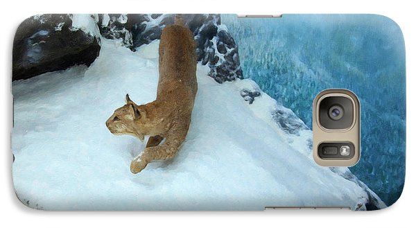 Galaxy Case featuring the digital art Bobcat On A Mountain Ledge by Chris Flees