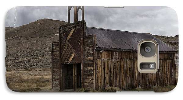 Galaxy Case featuring the photograph Bodie Fire Station With Lightning by Sandra Bronstein