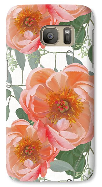 Galaxy Case featuring the painting Bold Peony Seeded Eucalyptus Leaves Repeat Pattern by Audrey Jeanne Roberts