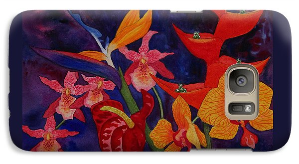 Galaxy Case featuring the painting Bold Tropical Flowers by Kerri Ligatich