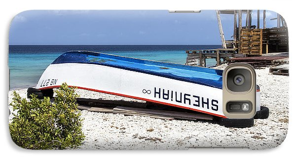Galaxy Case featuring the photograph Bonaire. The Old Boat by Yelena Rozov