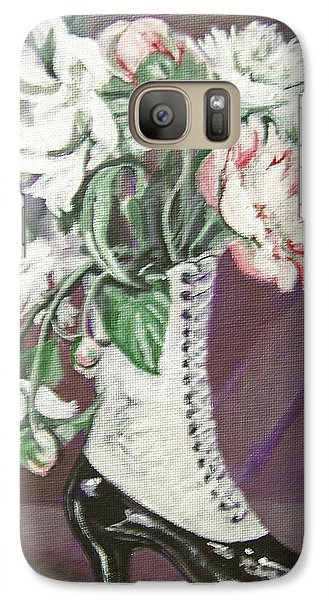 Galaxy Case featuring the painting Booted Peonies by Laura Aceto