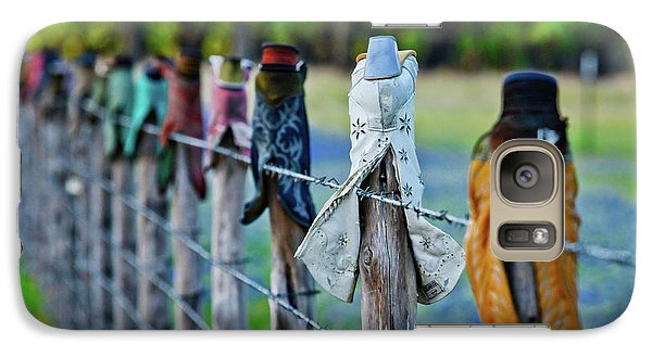 Galaxy Case featuring the photograph Boots On The Fence by Linda Unger