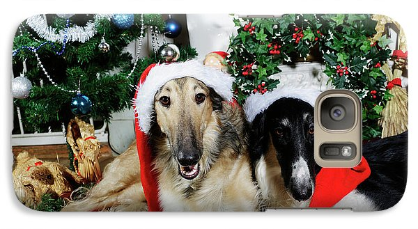 Galaxy Case featuring the photograph Borzoi Puppies Wishing A Merry Christmas by Christian Lagereek