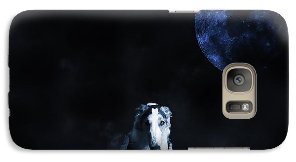 Galaxy Case featuring the photograph Borzoi Wolf-hound, Hunting Under A Full Moon by Christian Lagereek