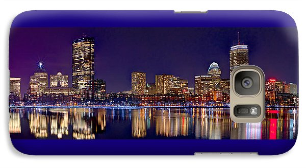 Galaxy Case featuring the photograph Boston Back Bay Skyline At Night 2017 Color Panorama 1 To 3 Ratio by Jon Holiday