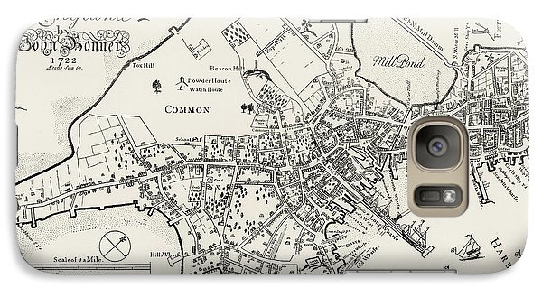 Boston Map, 1722 Galaxy S7 Case by Granger