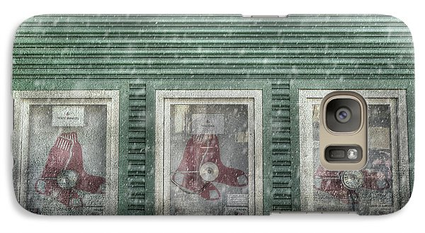 Galaxy Case featuring the photograph Boston Red Sox Fenway Park Ticket Booth In Winter by Joann Vitali
